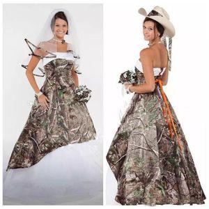 2020 Camo Brautkleider Satin Land Cowgirls Brautkleid Sweep Zug plus size Tarnung Brautkleider Korsett schnüren sich oben