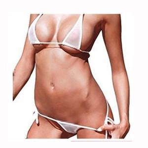 Ver hasta 2019 Sheer brasileña Bikinis Sexo Nado de la ropa interior del traje de baño del traje de baño femenino de malla micro del bikini de las mujeres determinadas