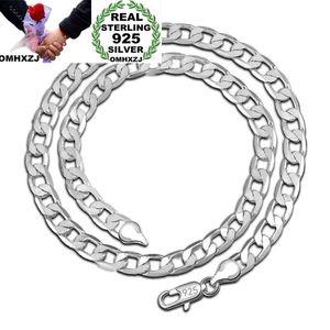 OMHXZJ Toptan Kişilik Moda Unisex Parti Düğün Hediye Gümüş 8 MM Figaro Zincir 925 Ayar Gümüş Zincir Kolye NC196