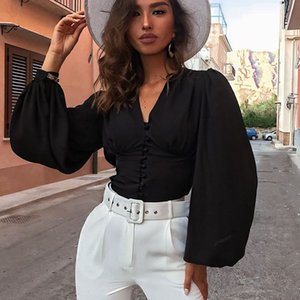 Hot sale 2019 Autumn new women shirts sexy Deep V-neck high waist lantern sleeve fashion wild single-breasted solid blouse tops