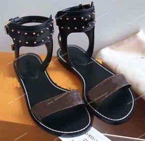 2020 cuero de las mujeres populares damas sandalias de gladiador de Summber lona de la playa Llanura sandalias del deslizador del flip-flop 35-41