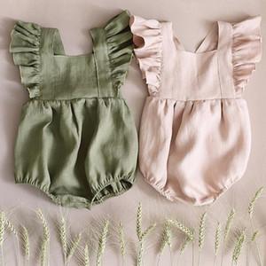 Owligbaby Retail Baby Linen Rompers 아기 걸즈 점프 슈트 59bt919 Ready Stock J190524