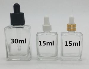 Pipette compte-gouttes pipette rectangle carré clair 15ml et spray pour e parfum huile essentielle cosmétique liquide