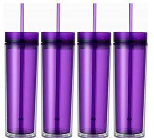 16 once acrilico tazza succo isolato doppie 6colors tumbler PP plastica tazze materiale due coperchi paglia strato copre LLFA
