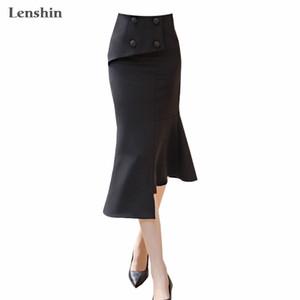 Lenshin Damen-lange unregelmäßige schwarze Reich beiläufige Trompete Meerjungfrau Rock für elegante Frauen Büro Abnutzung
