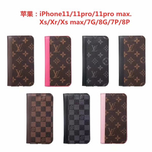For iphone 11 pro max X XR Xs Max 6s 7 8 plus Luxury Phone Case Official Leather Card Pocket Designer Brand Case Back Cover A01