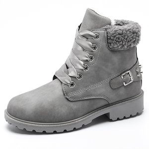 Size 43 women winter boots 2019 New Arrival Fashion Suede Women Snow Boots Metal rivet Warm Plush Women's Ankle Boots Flat shoes