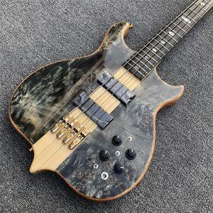 Maple Top 4 Strings Bas Gitar Ücretsiz Kargo Burst Boyun Gövde aracılığıyla Abanoz Klavye Pasif Kapalı Tip Pikap