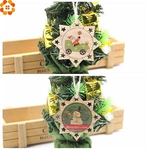 10PCS Printed Christmas Wooden Pendants DIY Santa Claus&Snowman Ornaments Tree Ornaments Kids Gift Christmas Party Decoration