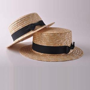 Fashion Mom And Daughters Hats Baby Girls Woman Summer Boho Straw Sun Hats Kids Mom Bowknot Flat Wide Brim Beach Caps