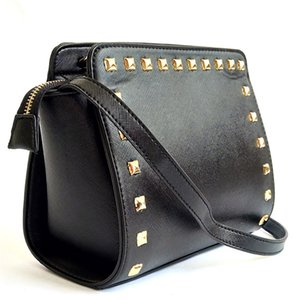 Top Quality Calf Skin Luxury Belt Bags Two-Tone Women Shoulder Bag Brand Designer The Banner Rivet Fashion Shoulder Bag#304