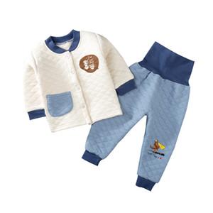 Детские Теплый Пижама 11 цветов Infant полосатой пижаме сращивания Дети трехслойный Загустители высокой талией Детская одежда Детская Кнопка пижамы 060421