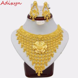 Adixyn Big Flowers Collier / Boucles d'oreilles Ensemble de bijoux pour les femmes Or Couleur / Cuivre Ethiopian Arabic India Cadeaux de mariage C18122701