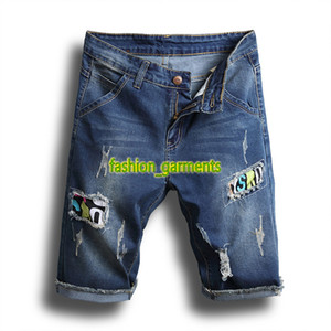New European Summer e americanos Mens Buraco Imprimir Denim Shorts Mens Shorts magro dos homens Hetero Pants Stretch