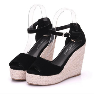 Tamaño extra grande de las mujeres de Bohemia de las sandalias la correa del tobillo de paja Cuñas de la plataforma para los zapatos femeninos Flock tacones altos Cubierta sandalias de tacón