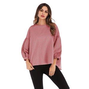 Vêtements de printemps et d'été des femmes européennes et américaines de la mode Hot-vente col rond Bubble Sleeve T-shirt à manches longues lâche