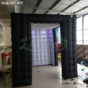 2.4m Preto LED Lighting foto inflável estande cubo tenda, personalizado foto cor de fundo da copa com cortina para a festa e eventos