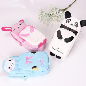 Korean Cartoon Animals PU Leather Cat Rabbit Panda Pencil Case Waterproof Pencils Bag Stationery Student Supplies