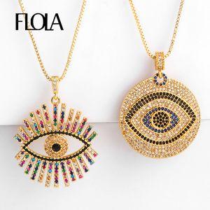 شغل FLOLA الذهب اليونانية قلادة العين للمرأة زركونيا الشر قلادة العين قلادة CZ قوس قزح مجوهرات طوق دي أوجو توركو nkep47