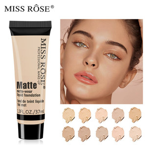 Miss Rose Professional Base de Matte Foundation Líquido Maquiagem Waterproof cara Concealer Foundation Cosméticos Repair rosto Make Up