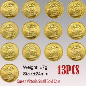 13 adet İNGILTERE Victoria Sovereign Coin 1887-1900 24mm Küçük Altın Kopya Paraları Sanat Koleksiyon