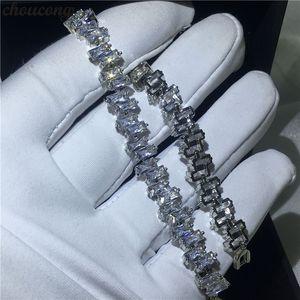 Choucong Mujer Oro Blanco Relleno pulseras Baguette 5A Circón cz Plata Colores Pulsera de boda para las mujeres de moda Jewerly