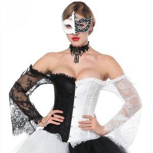 Manicotto a maniche corte in pizzo floreale bianco e nero Sexy Korsett vittoriano per le donne Abbigliamento Steampunk Corsetto gotico Top Bustier Vintage