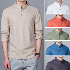 Fashion Long Sleeve Men's Shirts Male Casual Linen Shirt Men Brand Plus Size Asian size 2020