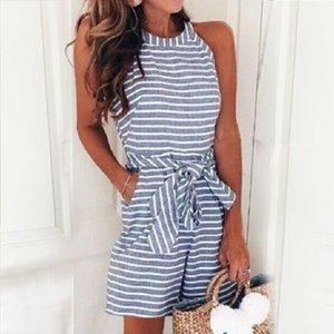 Women's Striped Playsuit 2019 Summer Sleeveless Romper Ladies Holiday Beach Belt Jumpsuits Casual Overall With Pocket Sexy Tops