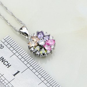 925 Sterling Silver Jewelry Multicolor Stones Cubic Zirconia Jewelry Sets For Women Earrings Pendant Necklace Ring Bracelet