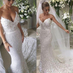 Sparkle Sequined Mermaid Wedding Dresses With Sequins Sash Paillette Lace Sweetheart Bridal Dress Cheap vestido de noiva