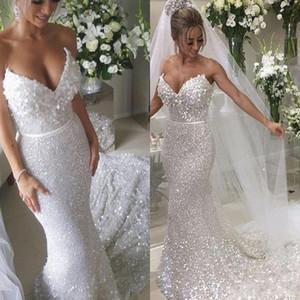Sparkle lentejuelas vestidos de boda de la sirena con lentejuelas Banda de Paillette del amor del cordón vestido de novia barato Vestido de Noiva
