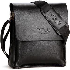 Hommes Classique Sac à bandoulière Voyage d'affaires Porte-monnaie Satchel Paquet Daypack Casual Porte-documents en cuir Polo Messenger Bag bandoulière