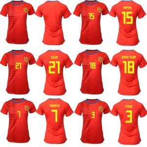 Camisetas de mujeres 2019 Copa del mundo, chicas España Fútbol local Jersey 19 20 Camiseta de fútbol de España España Inicio Camiseta de fútbol Mujer Uniforme de fútbol