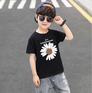 2-7 years short-sleeved Kids'Short Sleeve T-shirt round neck Printed Pure 100%Cotton Boys girl summer Children Clothing H2