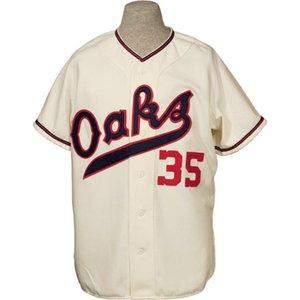 Oakland Oaks 1955 Home Jersey 100% costurado bordado vintage jerseys personalizado todo nome qualquer número frete grátis