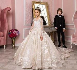 Little Princess Flower Girls Robes avec manches longues 2020 luxe Applique dentelle balayage train Communion anniversaire de mariage petite robe des filles