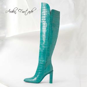 Sapatos Arden Moda feminina Furtado Inverno Sapato de bico fino Sapato de Salto Grande senhoras elegantes do joelho botas de cano alto marrom amarelo branco Deslizamento-na