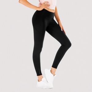 Lu-016 Mujeres pantalones de yoga bolsillos de ropa deportiva completa Leggings Ejercicio desgaste de la aptitud muchachas que se ejecutan los pantalones de cintura alta