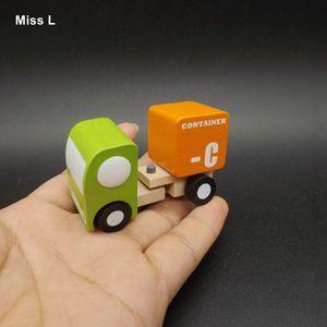 حاوية خشبية صغيرة شاحنة ألعاب تعليمية نموذج مركبة أطفال