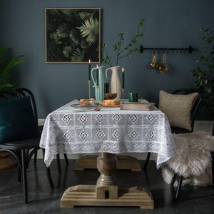 tejer crochet país americana mantel blanco ahuecado cubierta de tabla de lino Mantel