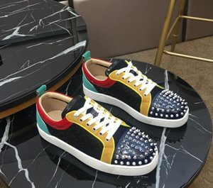 Summer Sneaker Mesh Breather Shoes Red Bottom Luxury Sneaker Studded Spikes Men Trainers Outdoor Lace-up Sports Runner Shoes US5-12