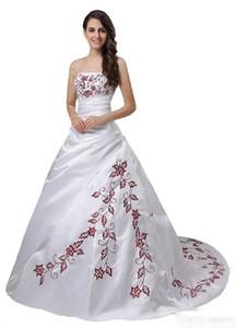 Красный и белый бальное платье свадебное платье Straplesss Красный вышивки атласная Vestidos De Noiva корсет Назад нетрадиционного Vintage Свадебные платья