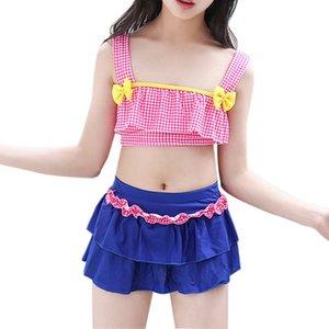 Dot Print Bikinis Girls Split Swimwear Swimsuit with Skirt Biquini Bathing Suit Bikini Swimwear Girl Children Kids Underwear Yq