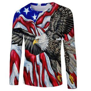American Bald Eagle Long Sleeve T-Shirt American Flag 4th of July Patriotic Tee unisex men women t shirt Ypf764