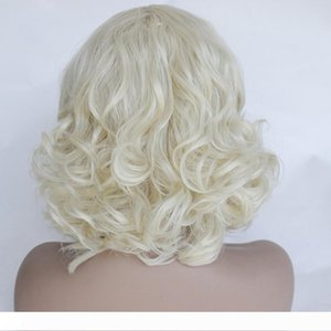 Long body wave Hair Creamy-White Color Wigs Glueless Heat Resistant Synthetic Lace Front Wigs for Black Women