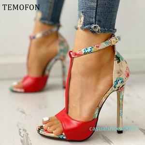 ayak bileği kayışı cik ayak parmağıyla TEMOFON seksi kadın bayanlar yüksek topuklu sandalet pompalar 2020 yaz ayakkabı tacones mujer c15