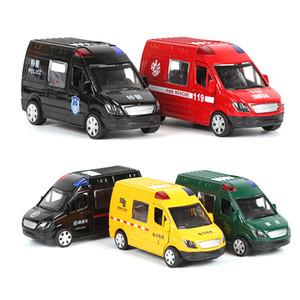 Çok kapıya Sıcak 1:32 ambulans alaşım modeli özel polis kuvveti geri modeli süsler toptan itfaiye araçları