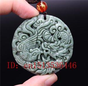 Chinese Lantian Jade Green Dragon Phoenix-Anhänger-Halskette Charm Schmuck-Mode-Glücksamulett Luck Geschenke Frauen Mann
