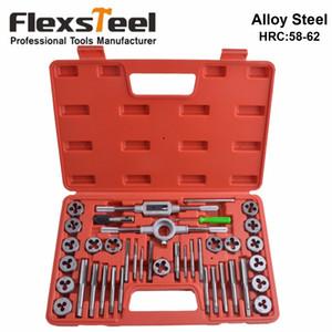 Mueren Flexsteel 40PCS de la aleación de acero 58-62HRC Toque y juego de troqueles, 9/20 / métrico de 40PCS Tap Wrench Herramientas Dies Soporte para uso profesional